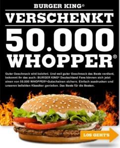 50.000 GRATIS-Whopper von Burger King