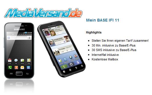 Samsung Galaxy Ace oder Motorola Defy GRATIS mit Mein Base IFI 11 für 11€ im Monat bei MediaVersand