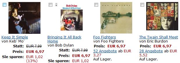 Bestseller-CDs bei Amazon für nur 6,97€ zzgl. Versand, Dreierpack für 15€ versandkostenfrei