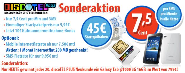 Nur 9,95€, nur heute: Chance auf GRATIS Galaxy Tab bei Kauf einer Handy-Prepaidkarte mit Super-Tarif und 45€ Guthaben