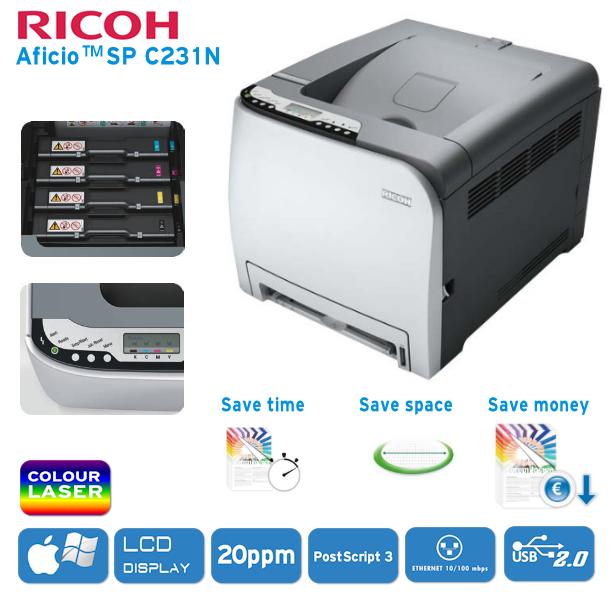 Farblaserdrucker Ricoh Aficio SP C231N nur 127,95€ inklusive Versandkosten bei iBOOD.de