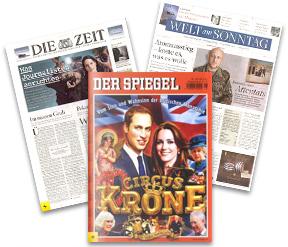 Günstige Zeitschriften-Jahresabonnements: DIE ZEIT für 77,20€, DER SPIEGEL für 87,60€, WELT AM SONNTAG für 51,20€