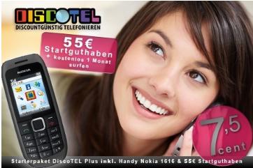 Prepaid-SIM-Karte von Discotel mit 55€ Startguthaben und Nokia 1616 nur 9,95€ bei Groupon