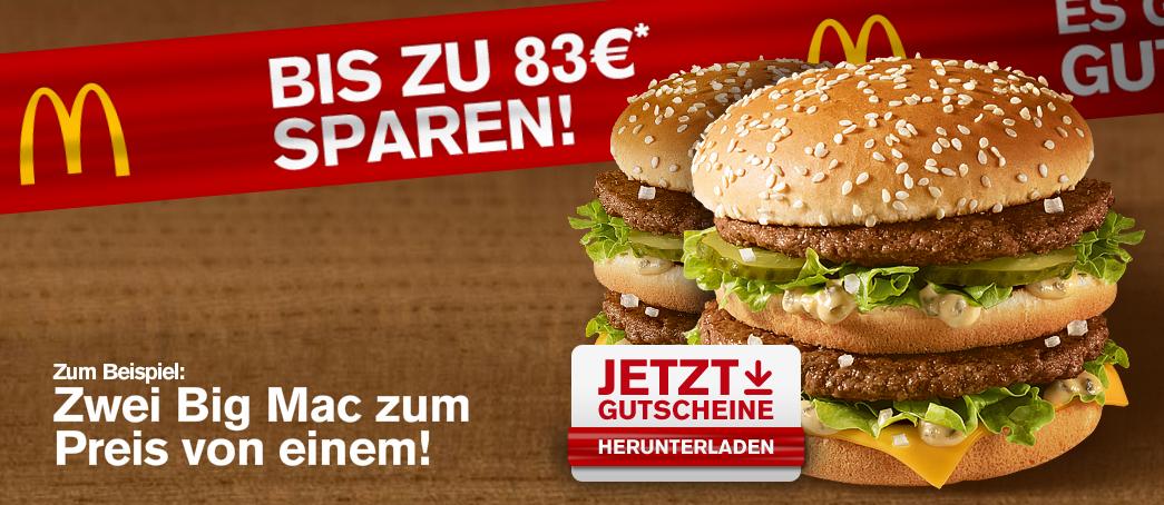 Kostenlose McDonald's-Gutscheine bequem aus dem Internet ausdrucken