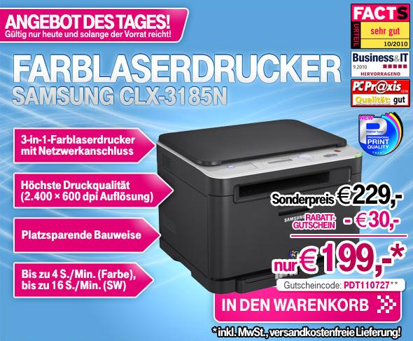 multifunktions farblaserdrucker samsung clx 3185n f r 199. Black Bedroom Furniture Sets. Home Design Ideas